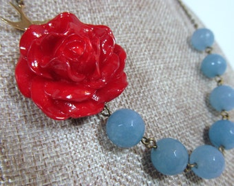 Scarlet Red Rose Light Blue Jade Flower Necklace, Faceted Beads, Brass Sparrow - 0112
