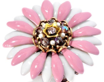 Pink and White Daisy Crystal Ring- Adjustable 1310186