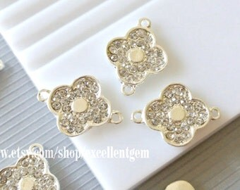 Clover, Clover connector Silver, gold  plated Rhinestone clover connector, jewelry mking, bracelet making Lead free, Nickel free
