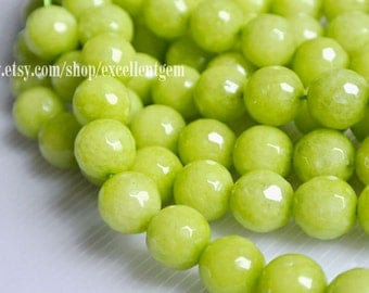 38 pcs Faceted Round beads, Full strand Olives green color jade, 10mm Round beads, Mint color beads.