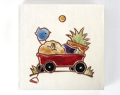 """Blue Bird and Red Radio Flyer Wagon ceramic tile, coaster or wall hanging 4"""" x4"""""""