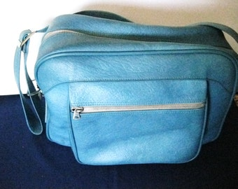 Vintage Escort Turquoise Travel Bag-American Luggage-Made in Japan-Overnight Bag-Tote-#DRG