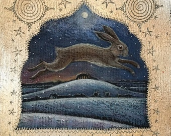 The Winter Hill, Hare print of original art by Hannah Willow