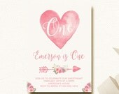 Valentine Birthday Invitation Our Little Sweetheart Birthday Party Heart Arrow Floral Pink Watercolor DIY Printable