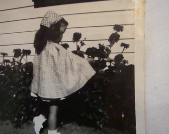 Old Antique Photo Little Red Riding Hood Picking Flowers Garden Vintage Halloween Photo Cute
