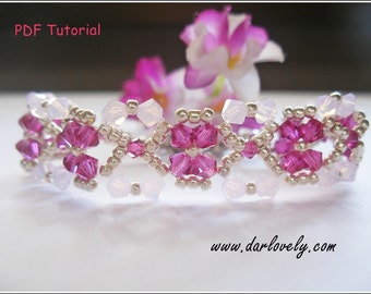 Beaded Bracelet Pattern - Ruby Rose Water Flower Bracelet (BB189) - Beading Jewelry PDF Tutorial (Digital Download)