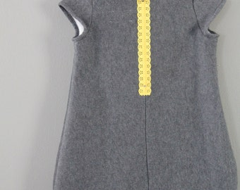 Sample SALE Cocoon dress 3T ready to ship jumper fall grey yellow 3y