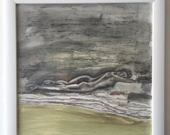 """Mixed Media Painting on Board, Reclining Figure, 12"""" x 12"""""""