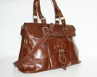 Leather Tote Johanna L // Shoulder Cross-body Bag fits a 13 inches Laptop //