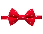 """Cat Collar + Matching Removable Bow Tie - """"The Apprentice"""" -  Red + White Holiday Polka Dot"""
