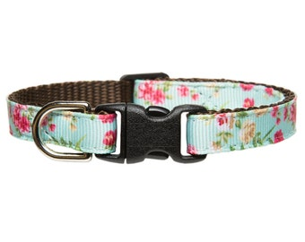 """Cat Collar - """"The Leading Lady"""" - Teal with Floral Print"""