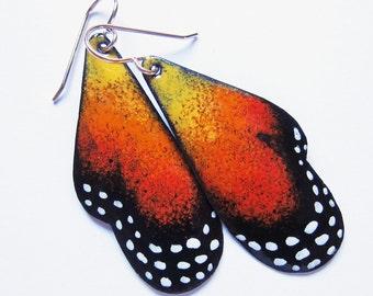 Orange enamel butterfly earrings Monarch butterfly wing dangles Wearable art nature inspired jewelry Gold wires