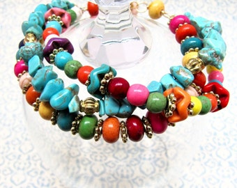 Turquoise Candy Bracelet, Red, Orange, Yellow, Green, Pink, Purple, White, and Gold Beaded Bracelet, Turquoise Triple Statement Bracelet