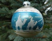 Vintage Christmas ornament teal and silver glass stencil wise men mercury glass Shiny Brite
