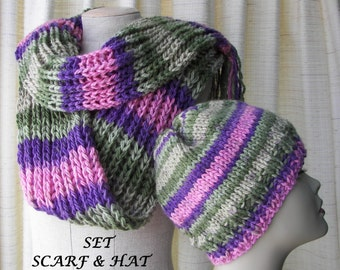 Hand Knit Chunky Scarf & Hat 100% Acrylic in Green Rose Lavender / Beanie Hat Scarf Set / Ready to ship Unique Gift / Textured Knit Scarf
