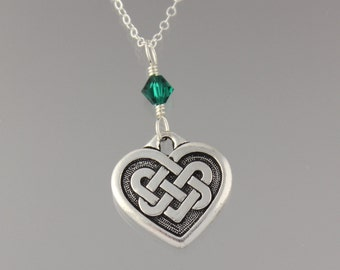 Celtic Quaternary knot necklace -Emerald Green Swarovski crystal or birthstone or pearl dangle, sterling silver chain - free shipping in USA