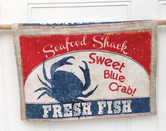 Seafood kitchen tea towel Sweet Blue Crab Lobster Red White Blue Hostess gift Under 20 gift