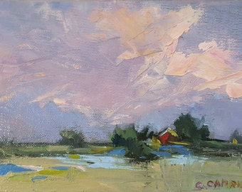 "Impressionistic Oil Painting Sunrise Storm Clouds 4""x 6"" Impasto"