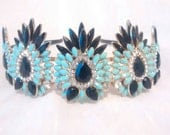 Tiara Crown Turquoise Black Crystal Glass Antique Gold Plated Upcycled Statement Jewelry Fantasy Renaissance Reign LARP Elven Wedding Bridal