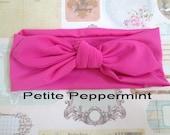 Hot Pink baby headband, knotted bow headband, baby turban, top knot headband, toddler headband, hot pink baby bow, baby head wrap