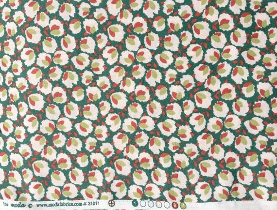 Cotton verdigris Blossom Urban Chiks moda fabric FQ or more