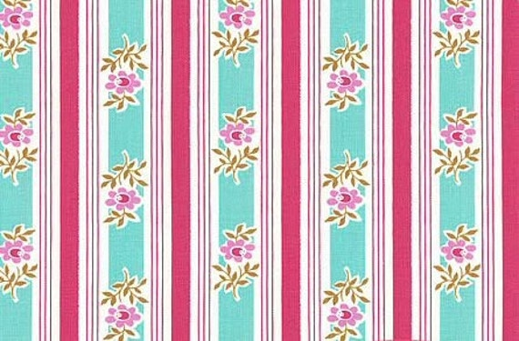 SALE : Poodle Siobhan stripe pink/aqua Jennifer Paganelli  Free Spirit fabric FQ or more