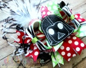 M2M Darth Vader Cutie Themed Boutique Style Hair Bow Red Lime Green Black and White Stripes Ostrich Puff