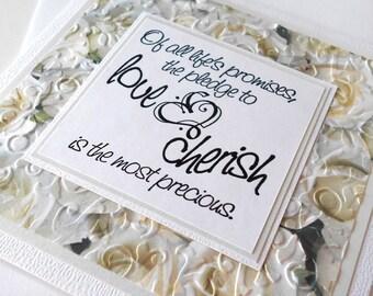 Wedding Greeting Cards:  Handmade Blank Note Card - Love & Cherish