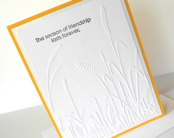 Friendship Greeting Card:  Handmade Blank Note Card - Forever Seasonal