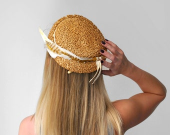 1940's brown beaded hat. feather. 40's flat hat. wooden beads. tan. cream. 40 bead hat.