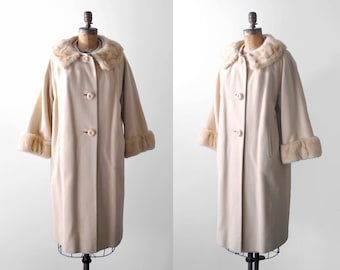 60's cream coat. xl. 1960's cashmere coat. mink trim. fur collar sleeves. 1960 large coat.