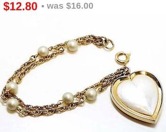 Vintage Pearlescent Heart Bracelet -  Double Strand - Marked Germany