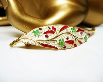 BSK Leaf Brooch - Enamel Red, White & Green with Rhinestones - Designer Signed Vintage Pin