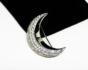 Rhinestone Crescent Moon - Designer Signed Z - Clear Rhinestones in Silvertone setting - Retro Modern Era