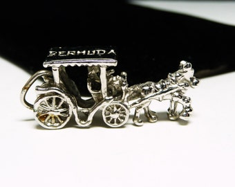 Bermuda Horse & Carriage Charm -  Marked Sterling Silver - Travel Resort Charms for Bracelet