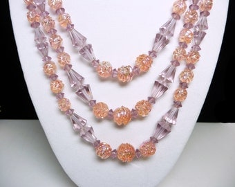 Peach & Purple Necklace - Signed Boucher Three Strand Necklace with Trumphet Beads and Molded Glass Beads