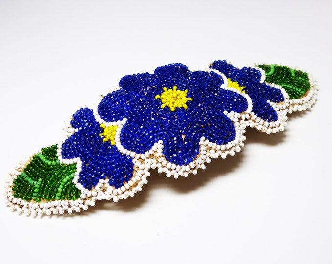 Vintage Oval Beaded Hair Clip - HUGE Hair Ornament - Royal Blue Flowers - Scalloped Edges - Large Barrette - Multi Colored Seed Beads