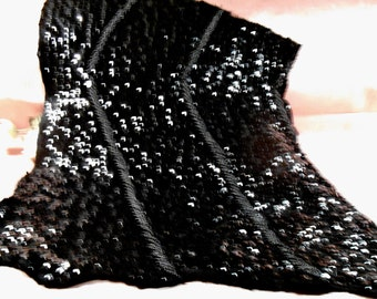 Vintage Trim Sequin and Beaded Remnant 1940s Dress Craft Supply Sequin Wool