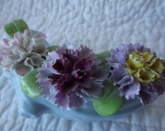 Vintage Stanley England Bone China Blue Log with Three Carnation Flowers and Leaves