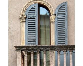 """Fine Art Color Photography of Verona Balcony - """"Blue Shutters and Balcony in Verona"""" (Italy)"""
