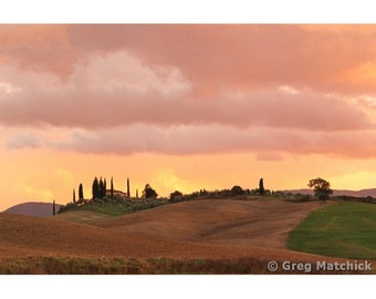 """Fine Art Color Landscape Photography of Tuscany - """"Morning Sky Over the Rolling Hills of Tuscany"""""""