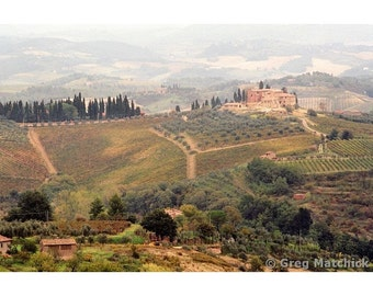 """Fine Art Color Landscape Photography of Tuscan Landscape - """"Villa On a Hill in Tuscany"""""""