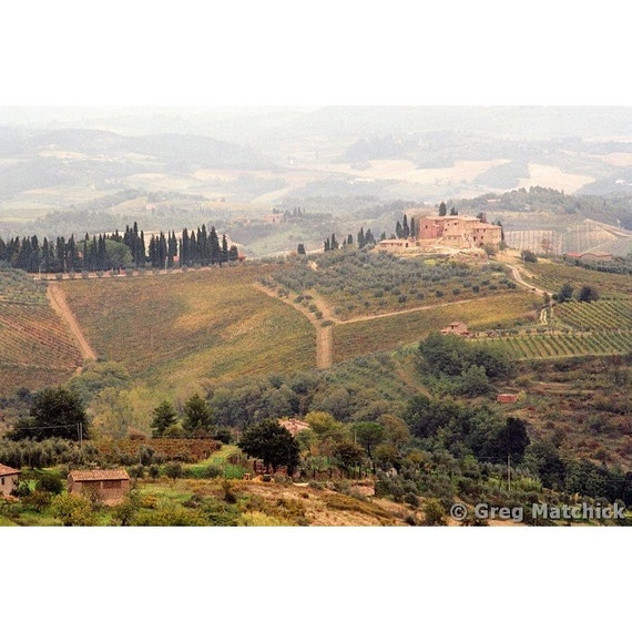 "Fine Art Color Landscape Photography of Tuscan Landscape - ""Villa On a Hill in Tuscany"""