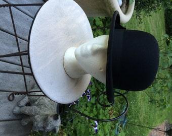 Black Bowler Men's Bowler Collins & Fairbanks Co. Boston Size 7 1/8 Black Bowler Hat Steampunk Antique Hat Costume Prop Re-enactment