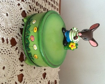 Mouse Music Box Gorham Music Box Made in Japan Lime Green Base Mouse with Pipe Cute Music Box