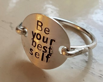 Sterling silver Be Your Best Self Ring, stamped monogram jewelry, inspirational ring