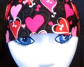 Hearts Skull Cap or Chemo Cap, Black with Pink,Red and White Hearts, Women, Kids, Valentine's Day, Hair Loss, Bald, Motorcycle, Helmet Liner