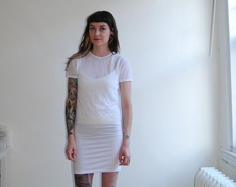 vintage white 90s semi sheer short sleeve top / size small