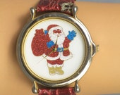 Vintage Gold Wrist watch, Santa claus Second hand, Red leather aligator band, Perfect running order, includes battery, Perfect time