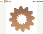 """FALL SALE Stamping Blank """"Copper Flower"""" or Sun with Cutout Stamping Blank- Approx. - 24.6 mm 24g. You get 2"""